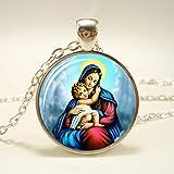 DADATU Virgen María Madre de bebé Colgante de Cristal Jesucristo Joyería Cristiana Jesús Pintura al óleo Collar Regalo para Hombres Mujeres