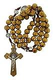 Rosario de San Benito con cuentas de madera de olivo y medallas de San Benito - Hecho a mano en Jerusalén