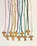 Tau de madera de olivo con cordón de colores, cruz de San Francisco de Asís 2,2 cm, 20 unidades con los 3 nudos franceses