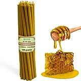 Diveevo Velas de cera de abeja (25 unidades, 18,5 cm de largo, 6,1 mm de diámetro, duración de combustión: 60 min), natural, sin goteo, sin humo, calidad de iglesia, cera fina de abeja №80