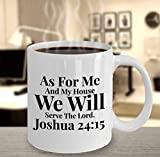 En cuanto a mí y mi casa, serviremos al Señor Idea de regalo religioso Taza con versículo bíblico Regalos cristianos Regalo de inauguración Tazas de café para hombres y mujeres