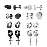 Pendientes de acero inoxidable de 8 piezas Pendientes de aro de plata Cruz colgante redondo vintage para hombres damas