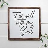 DONL9BAUER - Cartel de madera enmarcado con texto en inglés «It Is Well With My Soul», decoración de pared de madera cristiana, placa de madera para casa, jardín, porche, pared de galería, cafeterías.