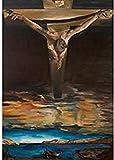 MKAN Carteles E Impresiones De Salvador Dalí, Cristo De San Juan De La Cruz Surrealista Religioso Cuadro De Arte De Pared Lienzo Pintura Decoración 40X70Cm