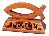 Shalom - Paz con Láser de Escritorio Cristiano de Los Pescados de Madera Regalo de 6.5Cm de Altura - El Texto Está en Inglés