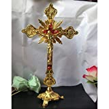 BWYFGRT Reliquias de la Iglesia Estatuillas Crucifijo Jesucristo en el Soporte Cruz de la Pared Altar religioso Antiguo Decoración de la Capilla del hogar 4 Colores.Oro