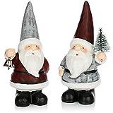 com-four 2X Figura de Papá Noel de cerámica - Santa Decorativo para Dejar - Figura Decorativa para Navidad - 18 cm [la selección varía] (02 Piezas - pequeño Papá Noel)
