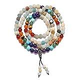 YAZILIND 108 Mala Beads Stone Buddha Pulseras de Rosario Budista 7 Chakra Reiki Oración de sanación con Cuentas Yoga Equilibrio Estiramiento Collar de Pulsera con dijes (# 4)