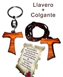 Heraldys.- Colgante Cruz Tao en Madera de Olivo + Llavero de Regalo y Certificado de autenticidad.