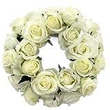 Rosario artificial de 30 cm, calidad prémium, decoración de mesa, 26 flores, color crema y blanco