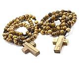 2 (dos) auténticos rosarios católicos de madera de olivo de Belén - En una bolsa de algodón natural para hombres y mujeres