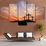 Sanzx Cuadro modular de 5 piezas/piezas cristianas de la puesta de sol de la cruz cristiana, decoración del hogar para sala de estar, impresión moderna, sin marco, 30 x 40 x 2, 30 x 60 x 2, 30 x 80 cm
