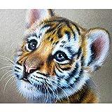 LANSUER - Juego de pintura de diamante 5D, pintura por número, pintura por número, pintura para bordar, pinturas, manualidades, linda tigre de bebé, 15 x 11 pulgadas, 1 paquete