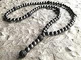 Collar piedra semipreciosa de Lava Hematita cuentas 10mm cadena Y-collar para hombre Mujer damas rosario