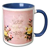 N\A Faith, Hope and Love Versículo bíblico con Rosas, Taza de Dos Tonos, 11 oz, Azul/Blanco