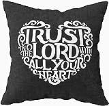 Funda de almohada de tamaño estándar, con texto en inglés 'Trust in the Lord with Heart Bíblic', diseño cristiano, 20 x 20 cm, fundas de almohada para sofá