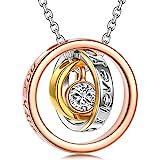 Kami Idea Collar - SIEMPRE - Colgante de oro Rosa, Regalo para mamá y Amor, Cristal de Swarovski, Embalaje de Regalo Elegante, Longitud de Cadena de 45 cm, Regalo para las Mujeres