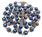 Nazareth Store Deep Blue Rosary Our Father Catholic Necklace 10mm Crystal Beads Medalla de Tierra Santa Estilo Antiguo - Bolsa de Terciopelo
