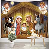 LB Cristiano Tapiz Natividad de Jesus Tapiz Pared Pesebre,Ángel,Vaca,Cordero,Estrella,Navidad Tapiz Colgar Pared para Sala Habitación Residencia Universitaria Decoración Pared,200cm x 150cm