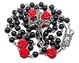 Nazareth Store - Collar de Rosario de Cuentas de hematita Negra de 6 mm Medalla Católica Nuestra Rosa Lourdes y Cruz de Jesús en Bolsa de Terciopelo