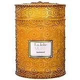 La Jolíe Muse Vela aromatica - Vela perfumada de sándalo, Vela Tarro Cristal, Vela Sandalo, Vela aromatica Grande, 90 Horas, 19.4Oz/550g