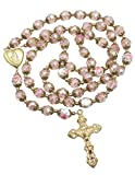 Nazareth Store Rosario de oro con cuentas de cristal rosa católico, collar con cuentas de corazón de Santa María, medallón y amuleto religioso para mujer