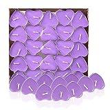 Fablcrew - Lote de 50 velas con forma de corazón de amor sin humo. Para cumpleaños, bodas, fiestas, propuestas de boda, confesión o cena con velas (morado)
