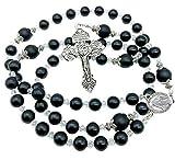 Nazareth Store Rosario de ágata negra con cuentas de 8 mm con piedras mate Gloria Be Stones oración, medalla milagrosa y cruz de indulto