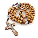 HOUSE CLOUD Rosario San Benito católico de madera de olivo, Rosario católico con medalla hecha a mano