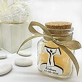 20 tarros de cristal con madera en forma de cruz tao/tau, para recuerdo de comunión, personalizados, con caja Tiffany.