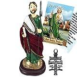 Figura San Judas Tadeo Pintada a Mano, con túnica de Tela Tipo Terciopelo.16 cms. De Regalo un Colgante Cruz de Caravaca y estampas de San Expedito, San Pancracio, San Judas Tadeo y San Miguel.