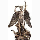GaoF 15'de Altura Estatuas de San Miguel Arcángel, Dios Griego San Miguel Matar al Demonio Lucifer Figuras, Esculturas religiosas católicas de Resina, Bronce Fundido Bronce 38x22x22cm