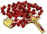 Nazareth Store - Rosario de San Benito Cuentas de cristal rojo Cruz de San Benito Cruz Medalla Collar católico