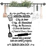 Docliick Frase Vinilo para cocina o restaurante'NUESTRA RECETA.' Vinilos decorativos Docliick DC-18035 (Vinilo de corte, 60x42cm)