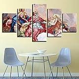 RZYLYHH 5 Lienzo Arte HD Arte decoración Figuras religiosas cristianas de Arte Moderno Cuadros para dormitorios