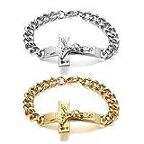 JewelryWe - Pulsera para hombre con colgante de cruz y cruz de Jesús en acero inoxidable, color plateado y dorado Paquete de 2