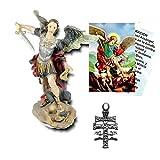 Heraldys.- Figura San Miguel Arcangel en Resina epoxi Pintada a Mano 12 cms. + Estampa + Medalla. También de Regalo estampas de San Expedito, San Pancracio y San Judas Tadeo.