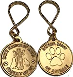 San Francisco de Asís patrono de diseño de huellas de mascotas/proteger mi mascota llavero