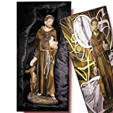 Heraldys.- Figura San Francisco en Resina, Pintada a Mano 20 cms. + Colgante Cruz. También de Regalo estampas de San Expedito, San Pancracio, San Judas Tadeo y San Miguel.