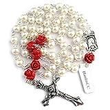 Hedi HanlinCC - Rosario católico de perlas de cristal, 6 mm, pieza central de Lourdes