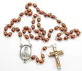 Cruz de Madera en Rosario Religioso VIRGEN DE FATIMA, de 59 Cuentas de madera. Cruz de 5 cms. Bolsa de Lino y Caja de Madera Decorada- Rosario Madera Marron VF