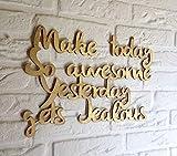 Eli231Abe Cita positiva decoración de pared corte láser signo de oro citas decoración de pared signos de madera citas en madera impresionante