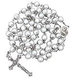 Nazareth Store - Rosario de perlas blancas, collar católico, medalla de suelo sagrado, cruz cristiana, regalos religiosos para mujeres y hombres