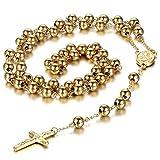 Collar Budista Cruz Hombre Mujer Oro con Colgante Crucifijo Rosario Acero Inoxidable Salud Joyería de Retro Vintage Regalo San Valentin