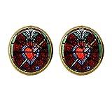 Pendientes de corazón sagrado con ventana de iglesia, vidrieras, cristiano, religioso, regalo de joyería