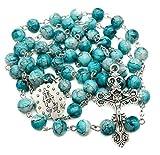 Nazareth Store Collar de rosario católico con cuentas de cristal de mármol turquesa y medalla milagrosa y cruz – bolsa de terciopelo