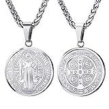 U7 Medalla San Benito Collar de Placa con Cadena Fina Trenzada Acero Inoxidable 316L Joyería Religiosa Católica para Hombres Mujeres exorcismo