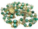 Nazareth Store - Collar de rosario católico de oro con cuentas redondas de piedra verde mate, cuentas de imitación de perlas de 10 mm, medalla milagrosa y cruz – bolsa de terciopelo