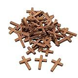 Paquete de 50 Colgantes de Cruz de Madera – 3 x 4,3 cm Mini Cruz, Colgantes de Cruz para Fiestas religiosas, Domingo Escuela DIY Craft
