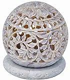 Zap Impex - Portavelas de té, diseño de escultura de piedra, con flores talladas, figuras decorativas de vela única hecha a mano, decoración principal de gres de 4 pulgadas